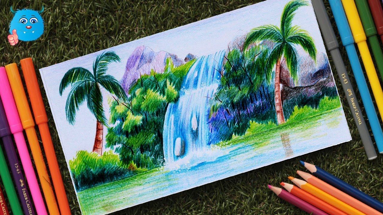 How To Draw A Scenery Of Waterfall Easy Waterfall Painting With Colored Pencil