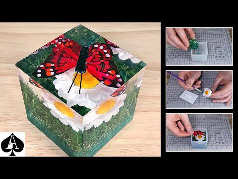 Artificial Butterfly on a Daisy in Grass Epoxy Resin Cube Paperweight Tutorial