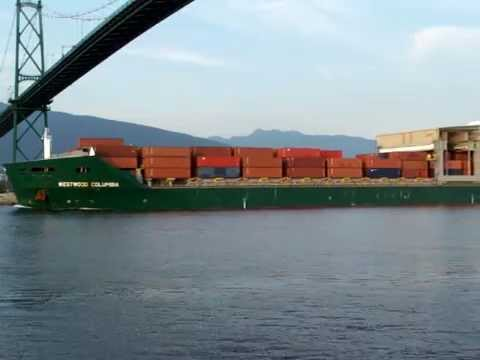 Container Ship Westwood Columbia Leaving port of Vancouver Video by www.tvlinkup.com