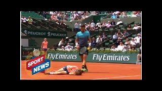 French Open 2018: Ball boy sent CRASHING to clay after colliding with Damir Dzhumur