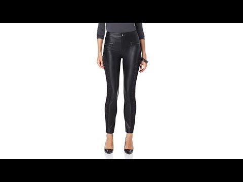 June Ambrose Faux Leather and Ponte Knit Leggings