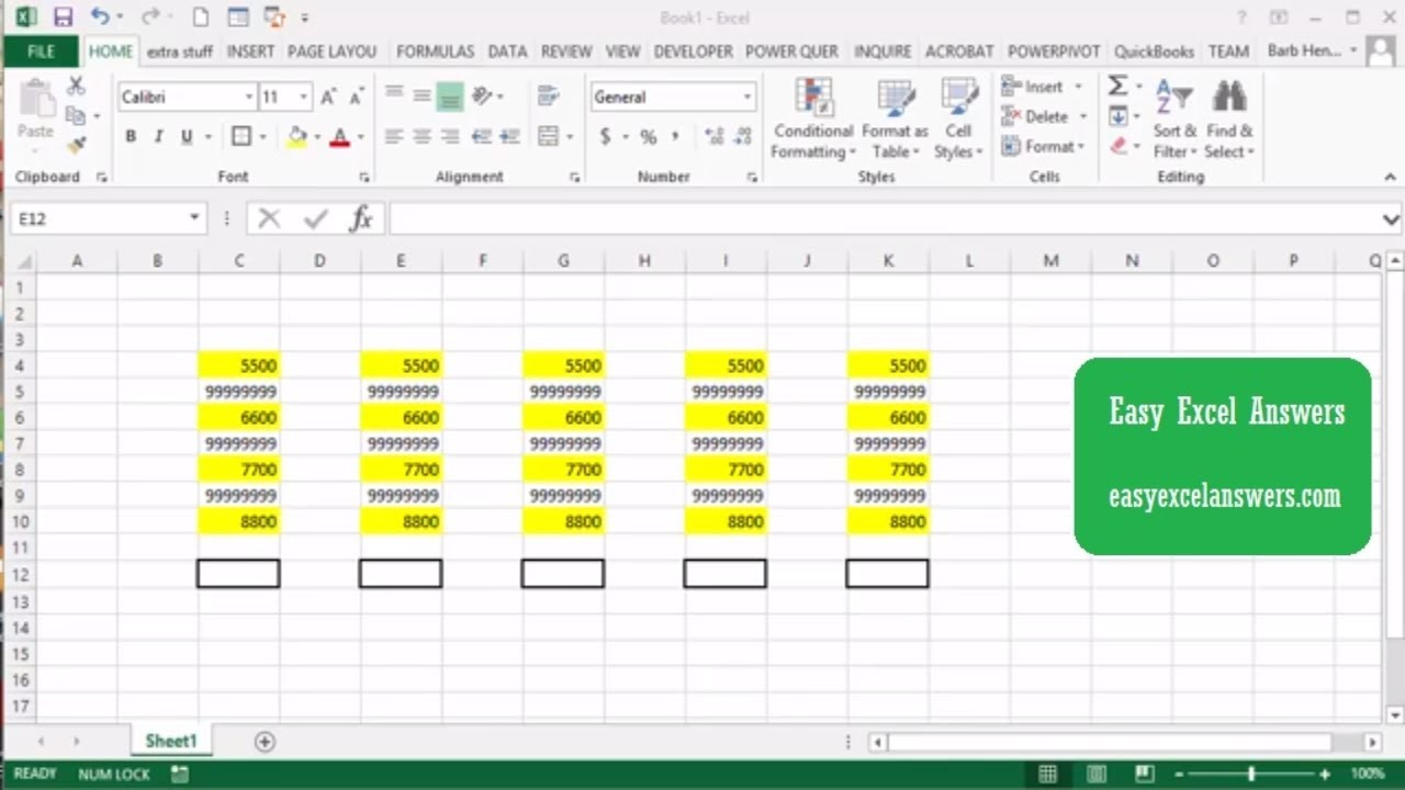 summing non contiguous cells in Excel