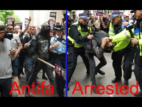 Antifa attacks right-winger at London protests - Arrested.
