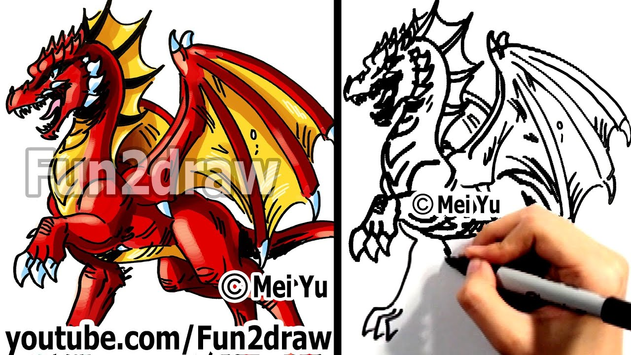 How To Draw A Dragon  Learn To Draw  Drawing Tutorials  Fun2draw   Youtube