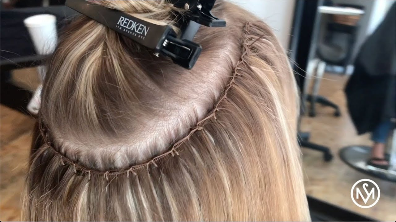 Hand Tied Wefts on Short Fine Hair - YouTube