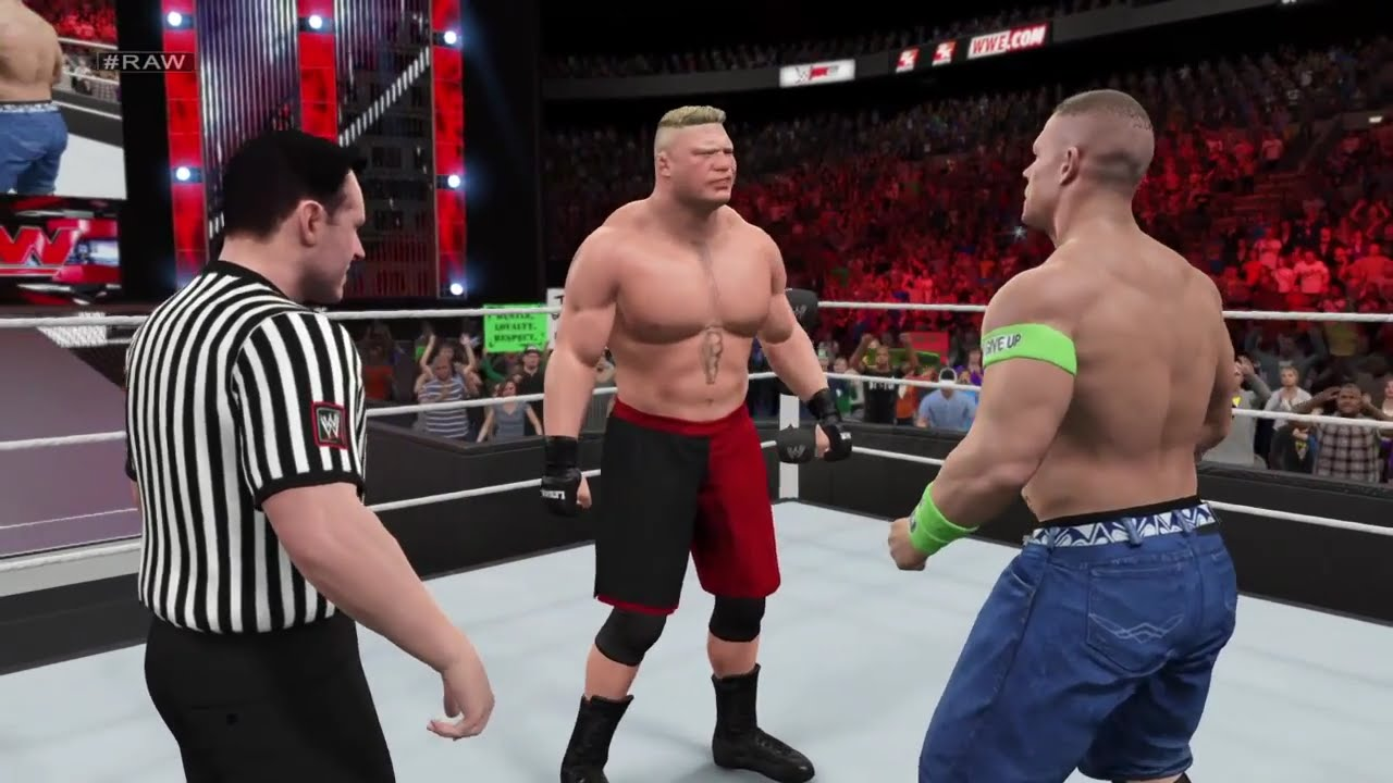 WWE 2K15 John Cena vs Brock Lesnar at RAW 2015 (PS4) HD