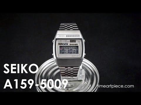 Seiko A159-5009 Vintage Digital LCD Chronograph Alarm Quartz Watch White