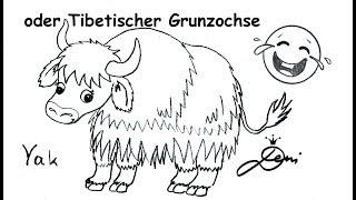 Yak zeichnen lernen schnell für Kinder 🐂 Tier mit Y 🐂 How to draw a yak 🐂