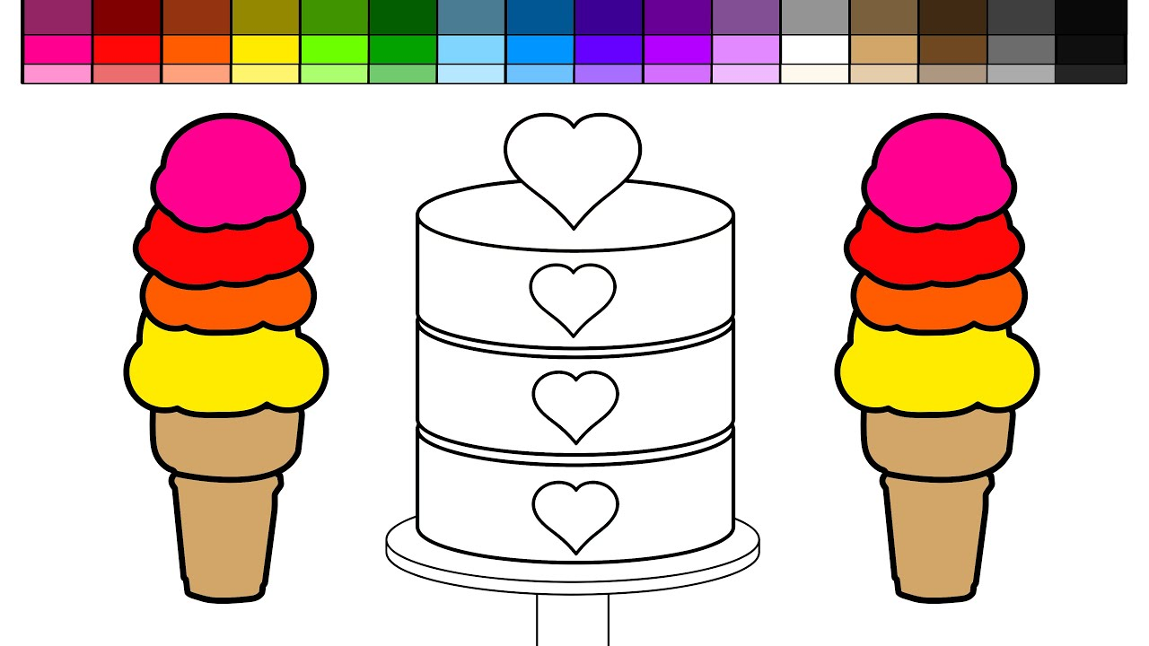 learn colors for kids and color rainbow ice cream cones and heart