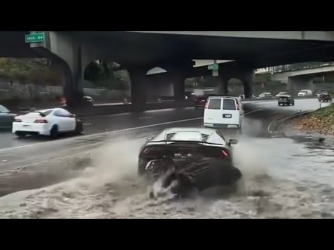 Lamborghini in the flooded street