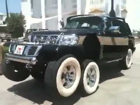 Arab wealth has no taste: 6 wheel Nissan Patrol contraption!