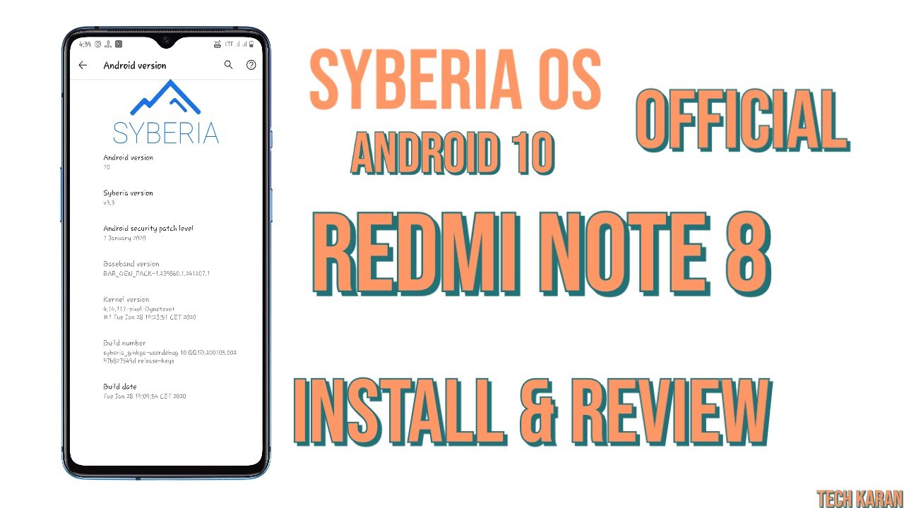 SYBERIA OS [OFFICIAL][Android 10] Custom ROM for Redmi Note 8 | Install & Review
