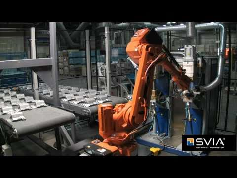 Nut welding application with an SVIA FeedLine and ABB IRB2600 robot