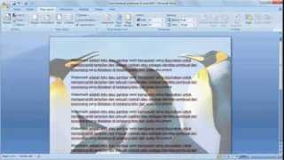 Belajar microsoft word 2007 | Cara membuat picture watermark word 2007