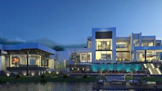 Проект дома в стиле хай тек. Дом с парковкой, бассейнами, террасой и балконами Ремстройсервис V-1515