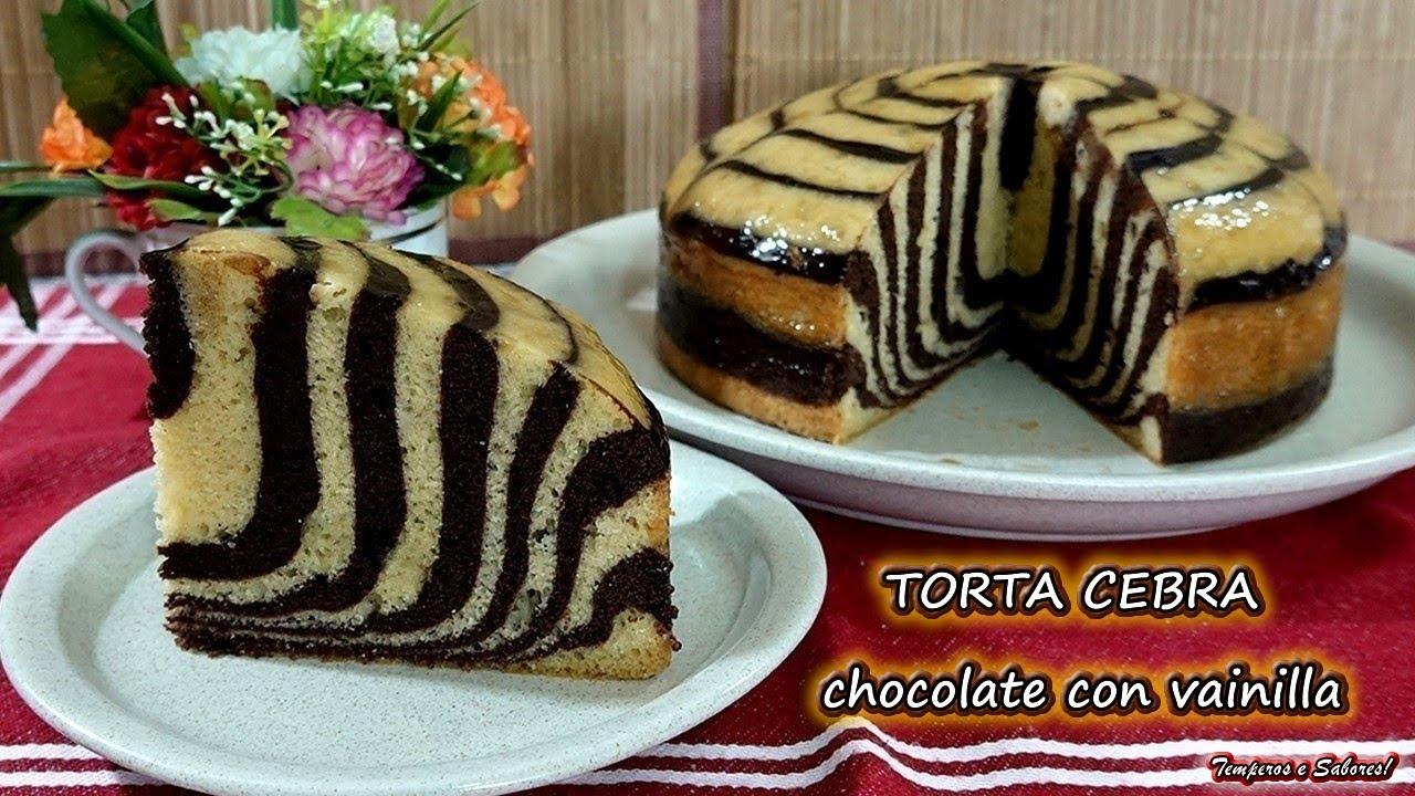 TORTA CEBRA Chocolate con Vainilla sin Horno y con Horno Increiblemente deliciosa