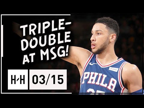 Ben Simmons Triple-Double Full Highlights vs Knicks (2018.03.15) - 13 Pts, 12 Ast, 10 Reb at MSG!