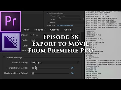 Episode 38 - Export to Movie - Tutorial for Adobe Premiere Pro CC 2015