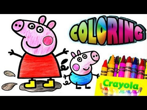 """Coloring """"Peppa Pig,George,Mummy Pig and Daddy Pig"""" with Crayon!"""