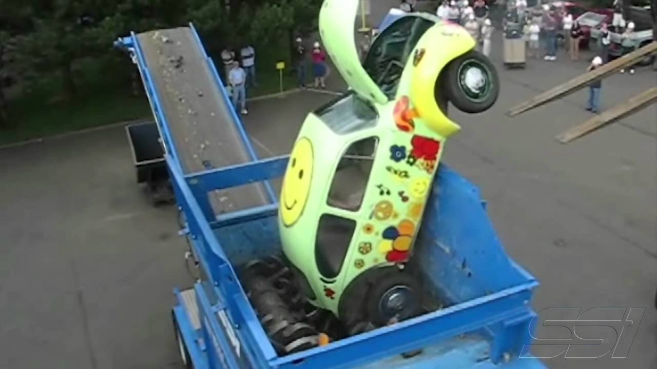 SSIs The Hippie Bug Shred WIDESCREEN VERSION YouTube - This giant shredding machine can destroy cars like its nothing