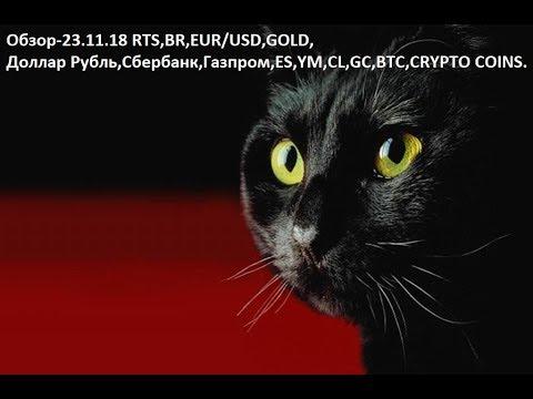 Обзор-23.11.18 RTS,BR,EUR/USD,GOLD, Доллар Рубль,Сбербанк,Газпром,ES,YM,CL,GC,BTC,CRYPTO COINS