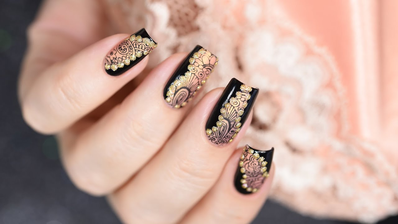 Lace matte stamping nail art tutorial youtube prinsesfo Gallery