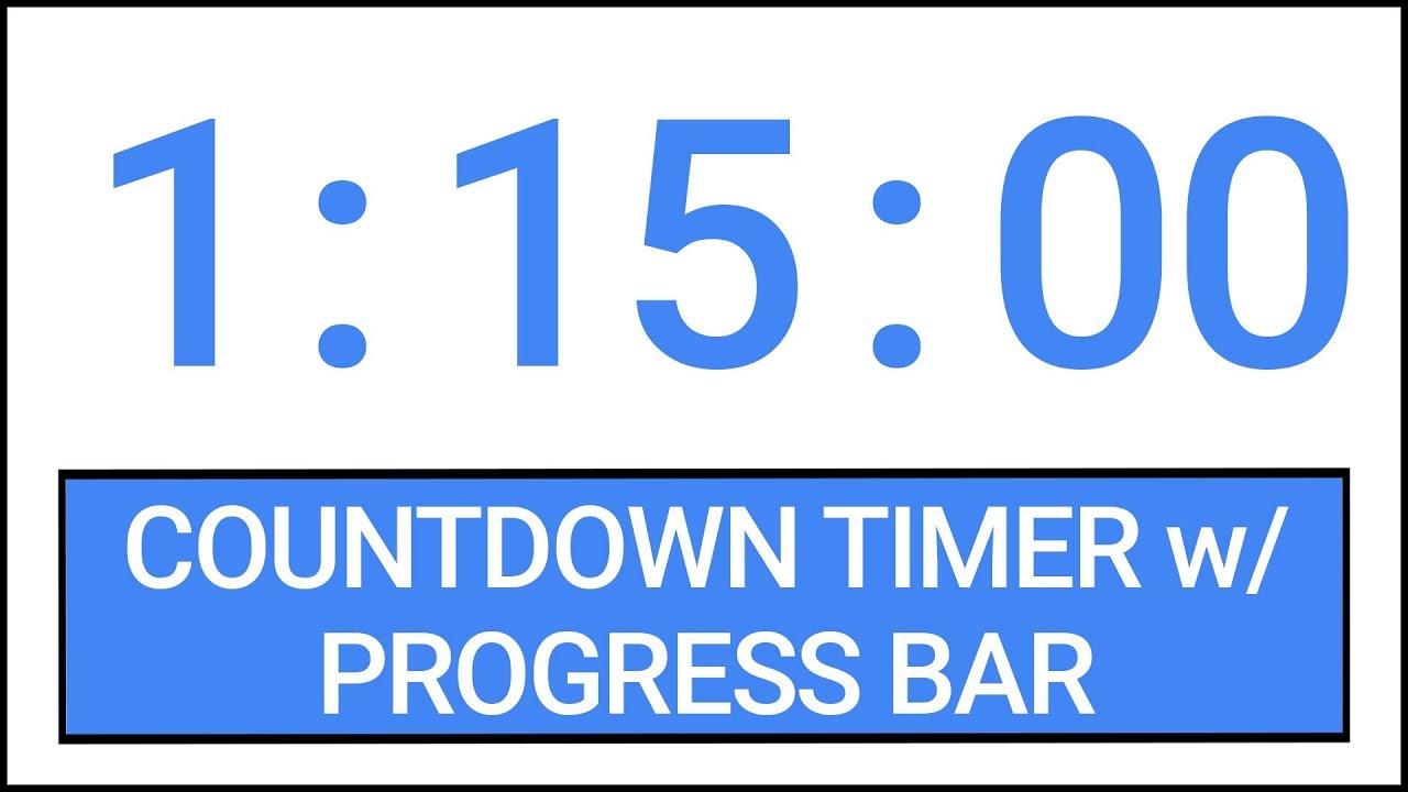 1 hour 15 min countdown timer w progress bar timer countdown