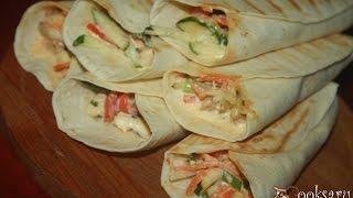Тортильи с курино-овощным салатом