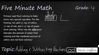 4th Grade Math Adding and Subtracting Fractions