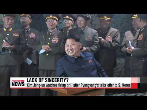 Kim Jong-un attends nighttime naval firing drill amid offer for talks   북한 김정은,