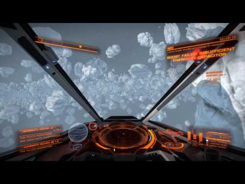 Elite: Dangerous - Speeding through an asteroid belt in an Impirial Eagle |