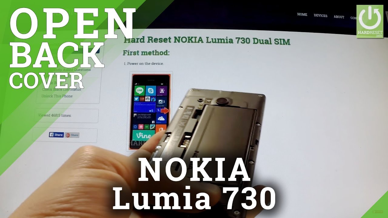 sports shoes b88d1 48b24 NOKIA Lumia 730 Dual SIM - How to open the Back Cover and remove the Battery