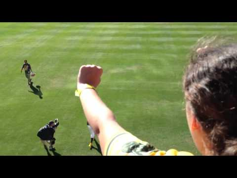 Josh Reddick celebrates with the RF bleachers after the A