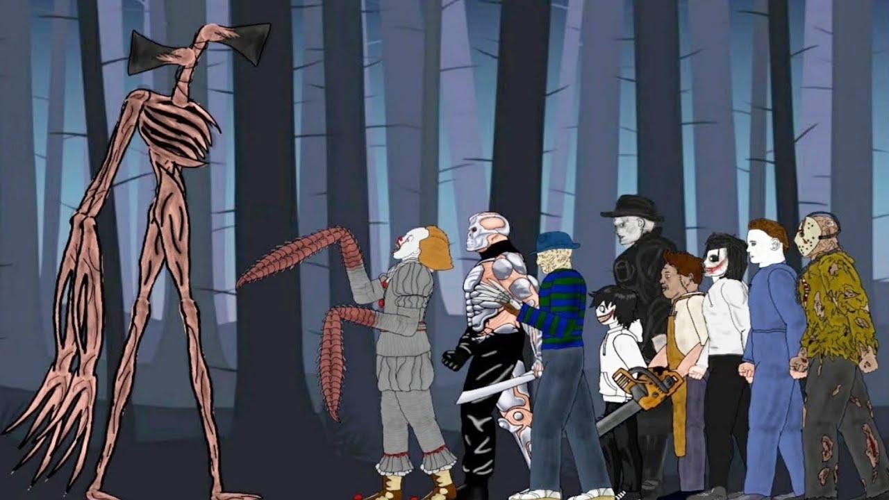 Siren Head vs Pennywise, Tyrant, Jason Voorhees, Freddy Krueger, Michael Myers, Jeff, Leatherface