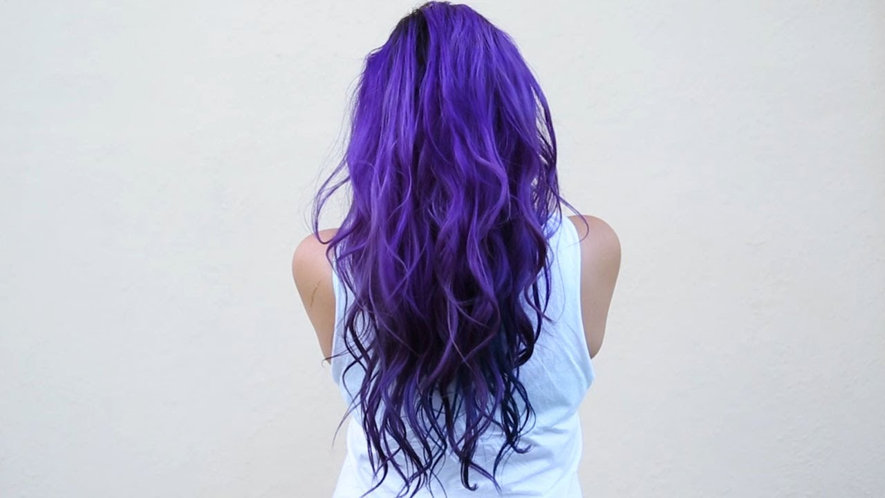 dye hair purple & blue