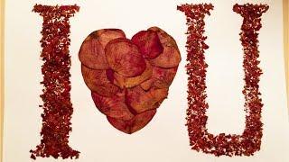 Craft using dried rose petals: I love you, handmade postcard | Romantic-idea.com