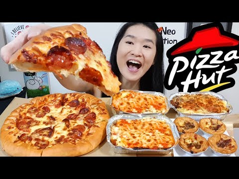 CHEESY PIZZA HUT FEAST!! Beef Pepperoni Pizza, Lasagne & Baked Chicken Pasta | Eating Show Mukbang