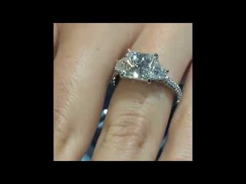3 carat Princess Cut Diamond 3 Stone Engagement Ring