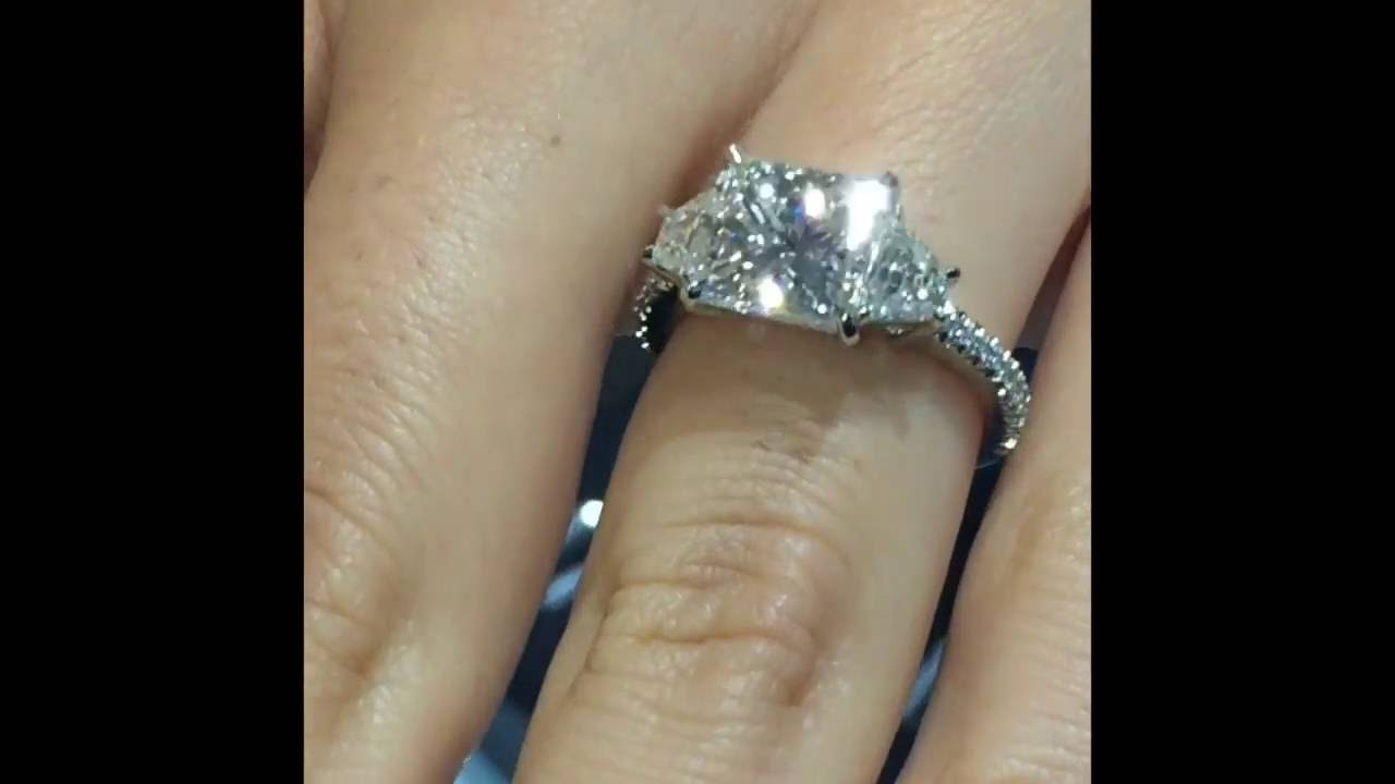 3 carat Princess Cut Diamond 3Stone Engagement Ring  YouTube