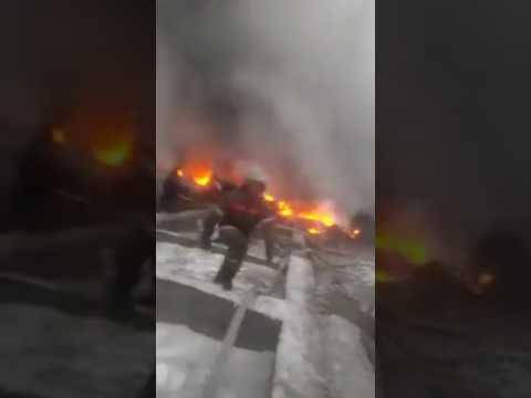 Тушения загоревшегося самолета под Бишкеком