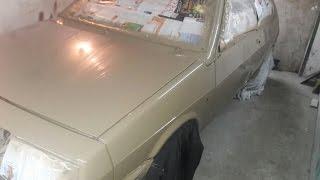 Покраска авто в гараже(подготовка к покраске,убираем потёки)часть 2