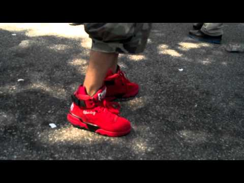 Ewing Athletics 33 Hi 2012 Red Suede Retro on feet