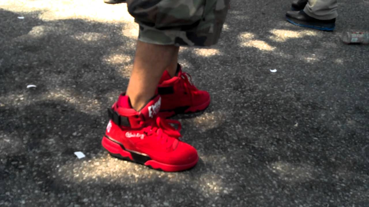 be9a716a1c7 Ewing Athletics 33 Hi 2012 Red Suede Retro on feet - YouTube