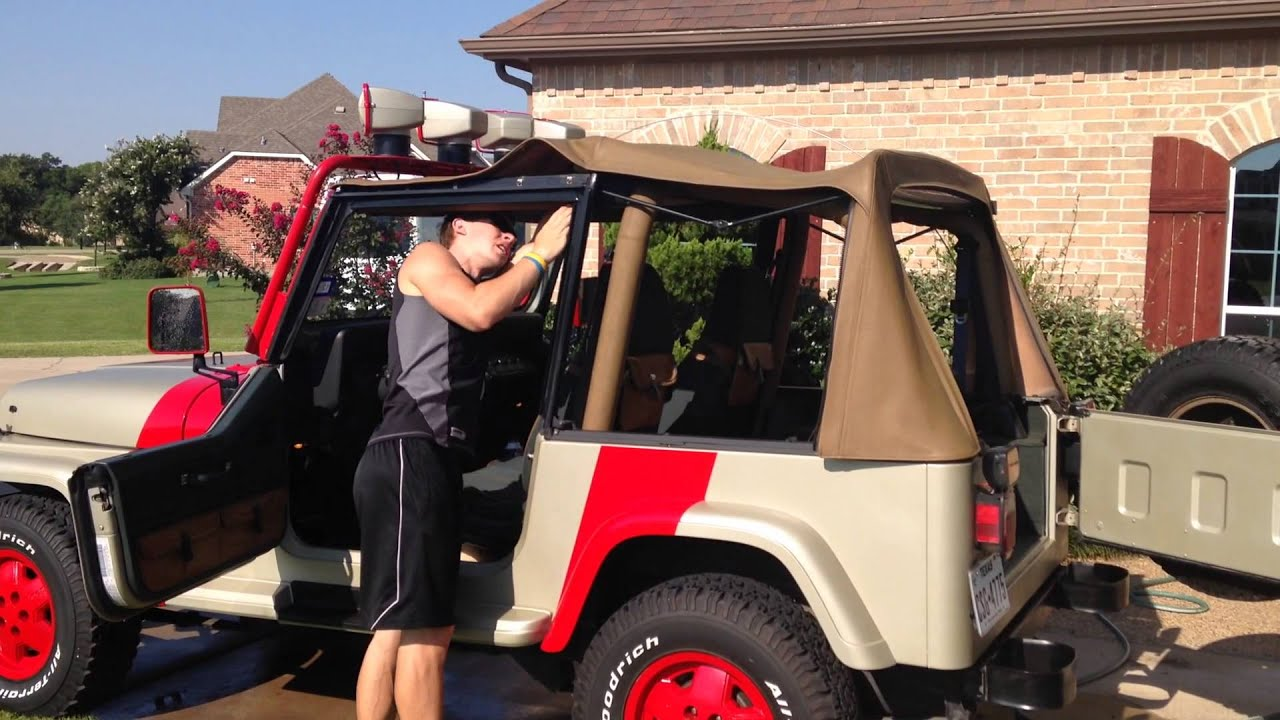 how to take the top off a jeep wrangler yj (jurassic park) - youtube