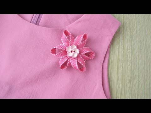 How To Make Pretty Ribbon Flower Brooch