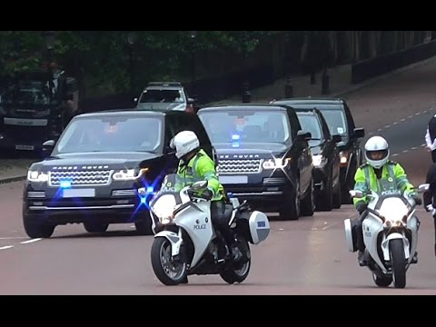Metropolitan Police Special Escort Group escorting Royal Family