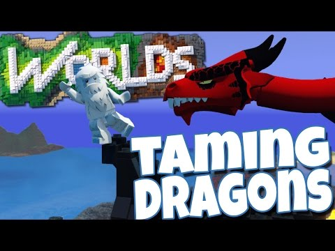 LEGO Worlds Gameplay - Taming A Dragon - Lego Worlds Funny Moments