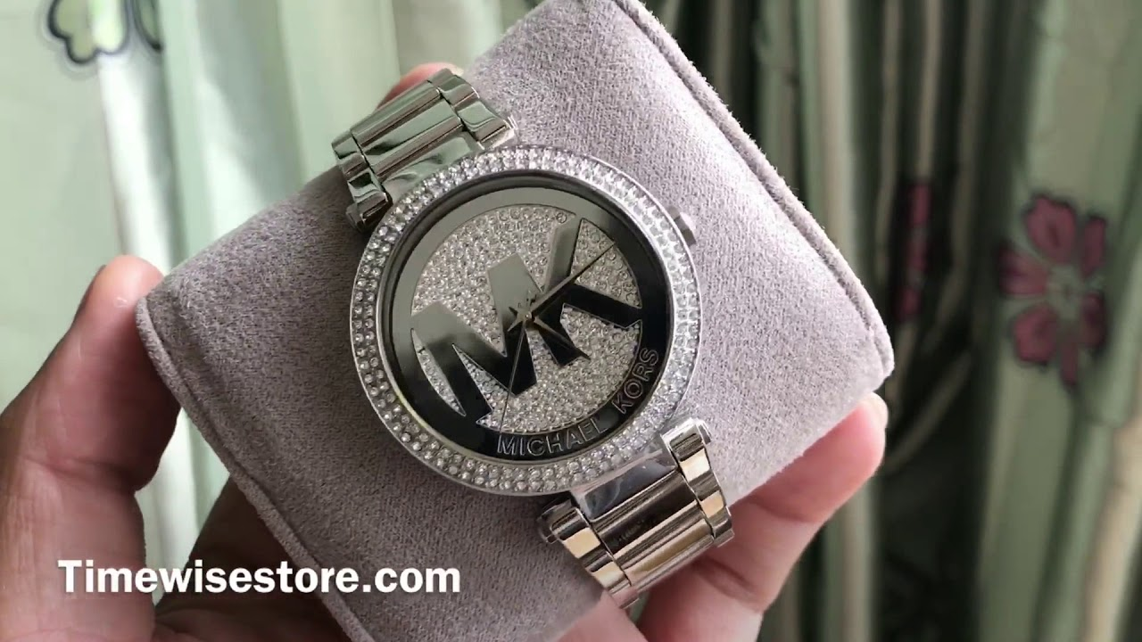 47c974574d41 MICHAEL KORS Parker Silver Crystal Pave Dial Stainless Steel Ladies Watch  Item No. MK5925 39mm