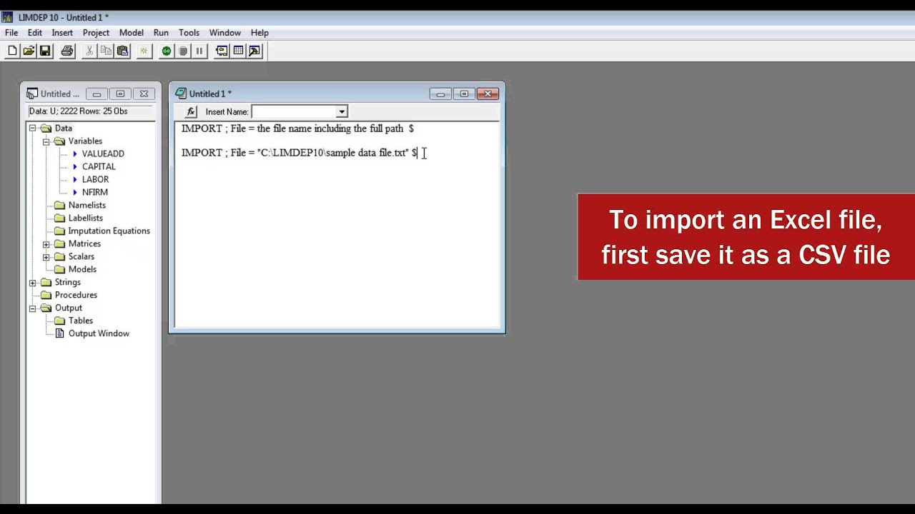 importing data into limdep and nlogit youtube rh youtube com