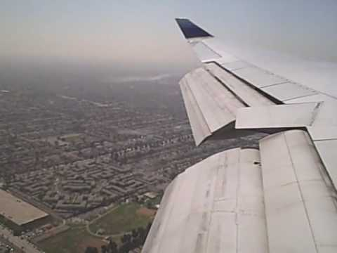 United B747 400 Wing View Landing At Lax Youtube